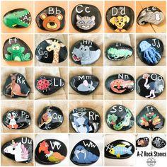 Preschool Alphabet Rock Stones middot The Inspiration Edit Craft Activities For Kids, Preschool Crafts, Preschool Alphabet, Crafts For Kids, Kids Alphabet, Alphabet Phonics, Alphabet Crafts, Alphabet Activities, Alphabet Letters