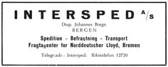 Det er greit å kikke i gamle årbøker. Denne annonsen fra Intersped A/S fant jeg i «Kjenn ditt land – Bergen 1937».