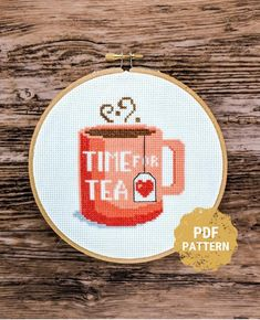 Cross Stitch Kitchen, Simple Cross Stitch, Modern Cross Stitch, Cross Stitch Kits, Counted Cross Stitch Patterns, Cross Stitch Designs, Cuppa Tea, Tea Cup, Ticking Fabric