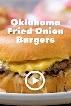 Cheesy Recipes, Hamburger Recipes, Beef Recipes, Cooking Recipes, Fried Onion Burger Recipe, Grilled Burger Recipes, Beef Burgers, Diet Food List, Beef Dishes