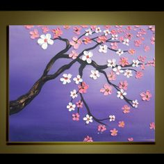 Items similar to Cherry blossom tree Oil Painting Original Impasto Palette Knife art on Canvas Ready to Hang by Qujun on Etsy Cherry Blossom Painting, Cherry Blossom Tree, Blossom Trees, Easy Canvas Art, Small Canvas Art, Simple Oil Painting, Painting Art, Paintings, Diy Art