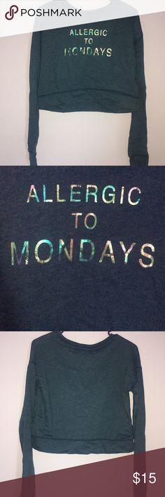 "!!PRICE DROP!! Crop Top Super comfy navy Aeropostale crop top that says ""Allergic to Mondays"".  Size: Medium Aeropostale Tops Crop Tops"