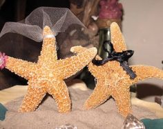 Coastal Wedding Decoration- Sugar Starfish Bride and Groom Alternative Cake Topper Top Man and Woman Starfish with veil and bow tie LOOSE