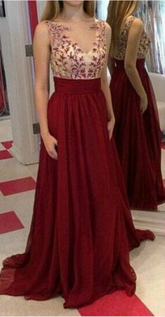 Burgundy Appliques Charming A-Line Prom Dresses,Long Evening Dresses,Prom #prom #promdress #dress #eveningdress #evening #fashion #love #shopping #art #dress #women #mermaid #SEXY #SexyGirl #PromDresses