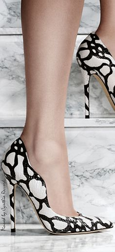 Brian Atwood Ad Campaign ~ Spring Black+White Leather Pumps 2015