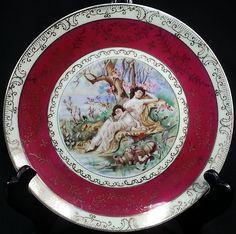 "Vintage RED GOLD Porcelain Ceramic Women and child PORTRAIT PLATE 7 1/8"""