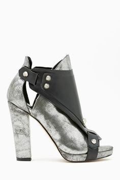 Shoe Cult Hard Crush Bootie in Silver
