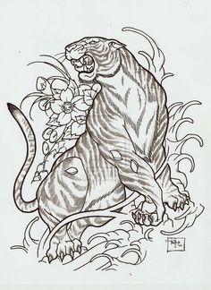 Outline Flowers And Japanese Tiger Tattoo Design Traditional Tiger Tattoo, Traditional Japanese Tattoos, Japanese Style, Japanese Tiger Tattoo, Japanese Tattoo Designs, Tiger Tattoodesign, Wicked Tattoos, Kunst Tattoos, Sick Tattoo