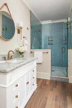 Glass Tile Bathroom, Bathroom Renos, Small Bathroom, Glass Tiles, Frameless Glass Shower Doors, Teal Bathrooms, Master Bathroom, Blue Glass Tile, Bathroom Vanities