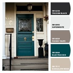 Image result for Tan and brick split level with brown trim and teal door