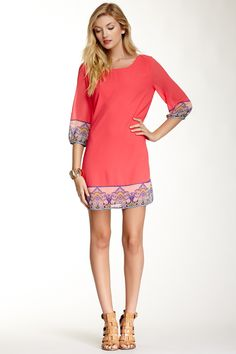 Printed Trim Shift Dress by Pink Owl on Nordstrom Rack