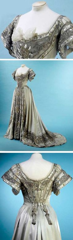 """Jacques Doucet was commissioned to """"translate"""" the feeling of Robert de Montesquiou's poem """"Les Hortenses Bleues"""" (The Blue Hydrangeas) into an evening gown. Between 1897 & 1906 he made this dress. Wide, square neckline, short wide sleeves, and embroidery on front and back of the bodice and front of the skirt. Silk satin and tulle with silver paillettes, embossed cabochons, and silk chenille and silver lamé and thread embroidery. Musée Galliera, Musée de la Mode de la Ville de Paris"""