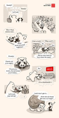 Polar bear and panda at IKEA - Cute Bear Drawings, Cute Animal Drawings Kawaii, Cute Couple Comics, Cute Couple Cartoon, Baby Panda Bears, Polar Bear, Panda Wallpapers, Cute Wallpapers, Cute Panda Cartoon