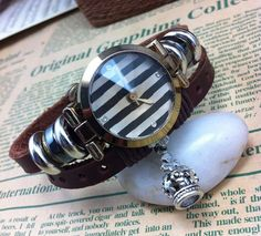 Unisex designed. Stripes n leather... $26 ( We can use different or no charms based on your preferences. )