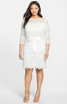 Marina Tiered Stretch Lace Sheath Dress (Plus Size) Plus Size Cocktail Dresses, Plus Size Party Dresses, Dress Plus Size, Plus Sise, Plus Size Fashionista, Looks Plus Size, Lace Outfit, Lace Sheath Dress, Plus Size Fashion For Women