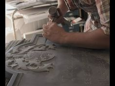 Hand Stone Carving, lettering - YouTube Stone Carving, Combat Boots, Statue, Lettering, Creative, Youtube, Stone Sculpture, Combat Boot, Rock Sculpture