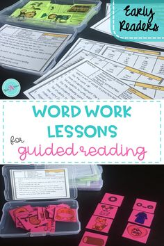 This toolkit and lesson plans for word work in guided reading is  the resource you've been looking for. The activities are design by level and provide a detailed list of the materials needed for each lesson. These lessons provide a step by step how-to-teach lessons for early readers in kindergarten, first grade or 2nd grade.