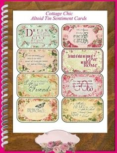 Cottage Chic Quotes Altoid Tin Covers and by SenecaPondCrafts Altered Tins, Altered Art, Printable Labels, Printables, Envelopes, Etiquette Vintage, Mint Tins, Tin Art, Prayer Box