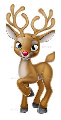 Buy Christmas Reindeer Cartoon Character by Krisdog on GraphicRiver. A cartoon Christmas reindeer belonging to Santa Claus Christmas Cartoons, Christmas Characters, Christmas Clipart, Christmas Printables, Christmas Pictures, Christmas Drawing, Christmas Art, Vintage Christmas, Christmas Decorations