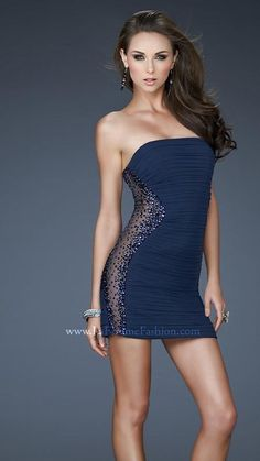 { 18232 | La Femme Fashion 2013 } La Femme Prom Dresses - Illusion Side - Rhinestones - Cocktail Dress