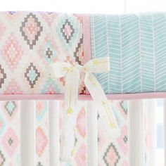 Aztec Crib Bedding | Baby Girl Bedding | Pink and Aqua Nursery