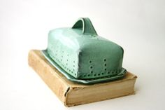 Covered Cheese Plate - Butter Dish - Aqua Turquoise Mist - French Country Home Decor - Four Color Choices