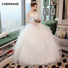 New Elegant Princess Wedding Dresses Sweet Ball Gown Lace Up Back Beads  Tulle Floor-Length 5957248e4574