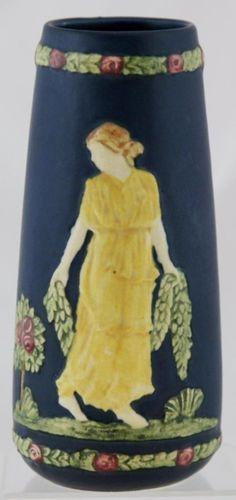 Weller Blue Ware Vase with A Lady Holding Laurel Garlands in A Garden Motif Weller Pottery, Garlands, Rose Quartz, Hold On, Vase, Living Room, Garden, Ebay, Garten