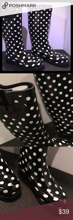 Black & White Polka Dot Rain Boots Brand new.  Polka Dot rain boots. I will ship out in a different box to avoid extra shipping charges. Shoes Winter & Rain Boots