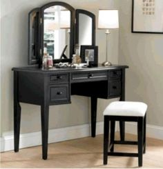 Makeup Vanity Black Table Set Bench