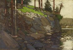 """""""Cliff by the Lake,"""" Tom Thomson, oil on canvas board, The Art Gallery of Ontario. Group Of Seven Art, Group Of Seven Paintings, Canadian Painters, Canadian Artists, Tom Thomson Paintings, Landscape Paintings, Oil Paintings, Landscapes, Art Gallery Of Ontario"""