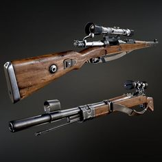 """viciouscustoms: """"(via WW2 Kar 98 Mauser sniper rifle with bayonet, Israel Pargas on ArtStation at https://www.artstation.com/artwork/ww2-kar-98-mauser-sniper-rifle-with-… 