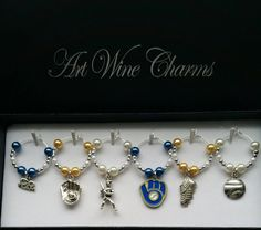 6 Milwaukee, Brewers, Baseball, Wine Charms, MLB, Thank You,Gift, Coach, Themed Party, Party Favors, Gifts under 20, National League Central by PickinsGalore on Etsy