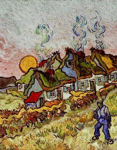 Vincent Van Gogh - Bauernhäuser bei Sonnenuntergang - jetzt bestellen auf kunst-fuer-alle.de
