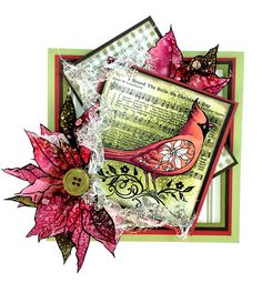This beautiful card by Jennifer Dove features Cardinal Elements from Stampendous