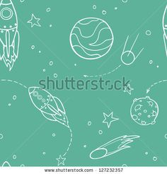 stock vector : Seamless pattern with space, rockets, comet, planets and stars. Childish background. Vector illustration.