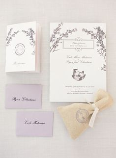 Ryan and Cali's Classic Destination Wedding in Provence Lavender ethereal wedding stationery suite