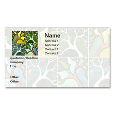 4 Hand Carved Trees in Watercolor and Pen and Ink Business Card. Make your own business card with this great design. All you need is to add your info to this template. Click the image to try it out!