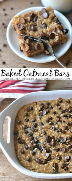 Treat Baked Oatmeal Great for breakfast or everyday snacks. A healthy recipe for baked oatmeal bars.Great for breakfast or everyday snacks. A healthy recipe for baked oatmeal bars. Just Desserts, Delicious Desserts, Dessert Recipes, Yummy Food, Jello Recipes, Kid Recipes, Whole30 Recipes, Vegetarian Recipes, Recipies