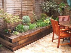 New garden fence border railway sleepers ideas Back Gardens, Small Gardens, Outdoor Gardens, Building A Raised Garden, Raised Garden Beds, Raised Beds, Raised Patio, Raised Gardens, Railway Sleepers Garden