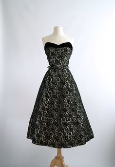 Vintage 1950s Couture Strapless Lace Party Dress ~ 50s Black Lace Overlay Cocktail Dress Studded Rhinestones by xtabayvintage on Etsy https://www.etsy.com/listing/215181326/vintage-1950s-couture-strapless-lace