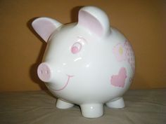 "Ceramic White & Pink Quilt Patches Heart Star Bow PIGGY BANK Coin Bank 7.5"" tall #unbranded"