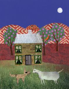 The Cat and The Goat - Paper Collage. By Daphne Mihan