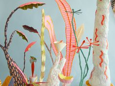 """Adam Frezza & Terri Chiao. """"Paper Plants"""" Excerpts from A Controlled Wild Mixed media sculptures (painted paper, wire, plaster, flocking) 2013"""