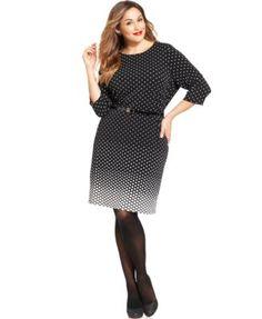 f41de2608a6 Charter Club Plus Size Polka-Dot Belted Dress