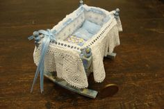 Miniature baby cot complete with linen  light blue by bagusitaly, $49.00