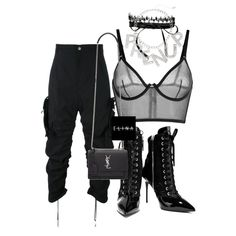 A fashion look from October 2016 featuring La Perla bras, Giuseppe Zanotti ankle booties and Yves Saint Laurent shoulder bags. Browse and shop related looks.