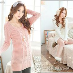 Womens Crew Neck Winter Long Sleeve Woolen Pullover Sweater Jacket Coats Size S | eBay