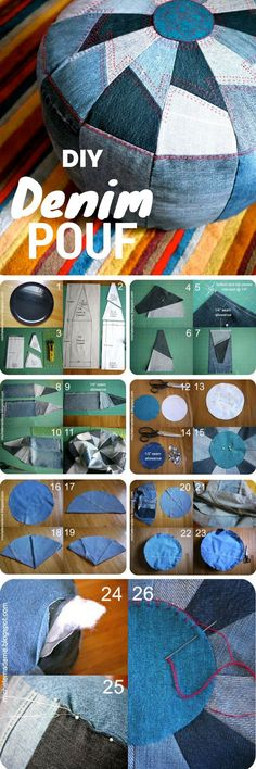 Check out the tutorial on how to make a DIY pouf from old jeans for home decor Industry Standard Design (Diy Pillows) The post 10 Awesome Ways to Use Old Jeans for Decor appeared first on Garden ideas - Upcycled Home Decor Upcycled Home Decor, Easy Home Decor, Cheap Home Decor, Home Decoration, Decorations, Diy Pouf, Denim Crafts, Denim Ideas, Creation Couture