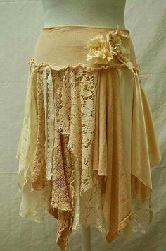 Skirt made from remnants of lace, fabric. Beautiful.